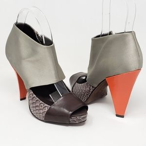 BcbgMaxAzria leather satin peeptoe heels